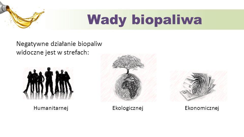 Wady biopaliwa Negatywne działanie biopaliw widoczne jest w strefach: