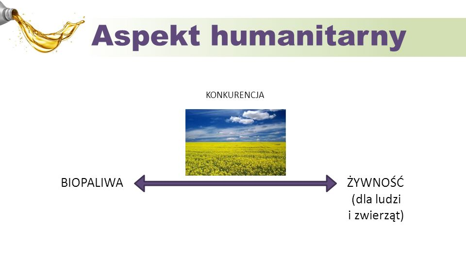Aspekt humanitarny BIOPALIWA ŻYWNOŚĆ (dla ludzi i zwierząt)