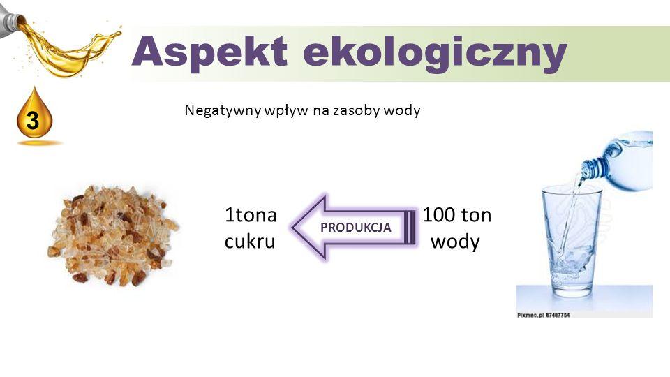 Aspekt ekologiczny 3 1tona 100 ton cukru wody
