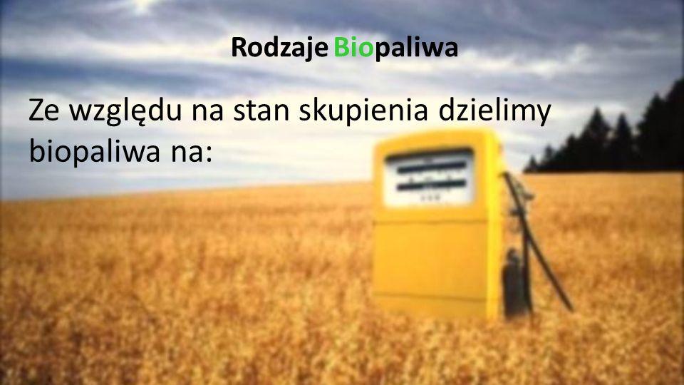 Ze względu na stan skupienia dzielimy biopaliwa na: