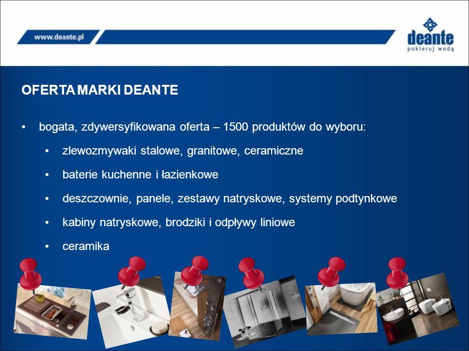 OFERTA MARKI DEANTE bogata, zdywersyfikowana oferta – 1500 produktów do wyboru: zlewozmywaki stalowe, granitowe, ceramiczne.
