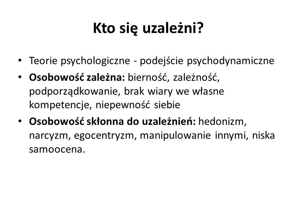Kto się uzależni Teorie psychologiczne - podejście psychodynamiczne