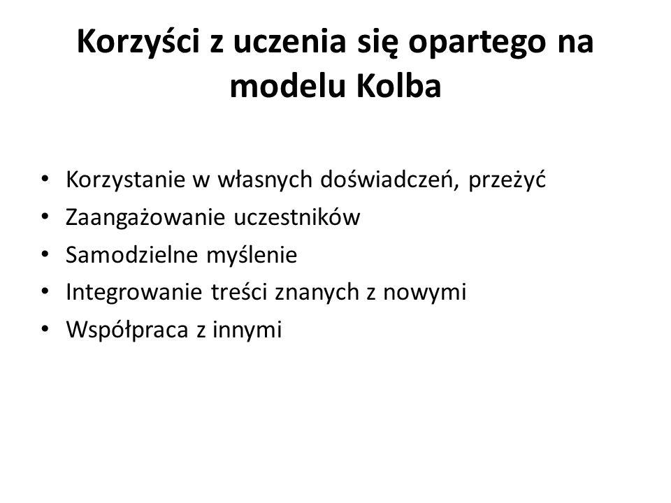 Korzyści z uczenia się opartego na modelu Kolba