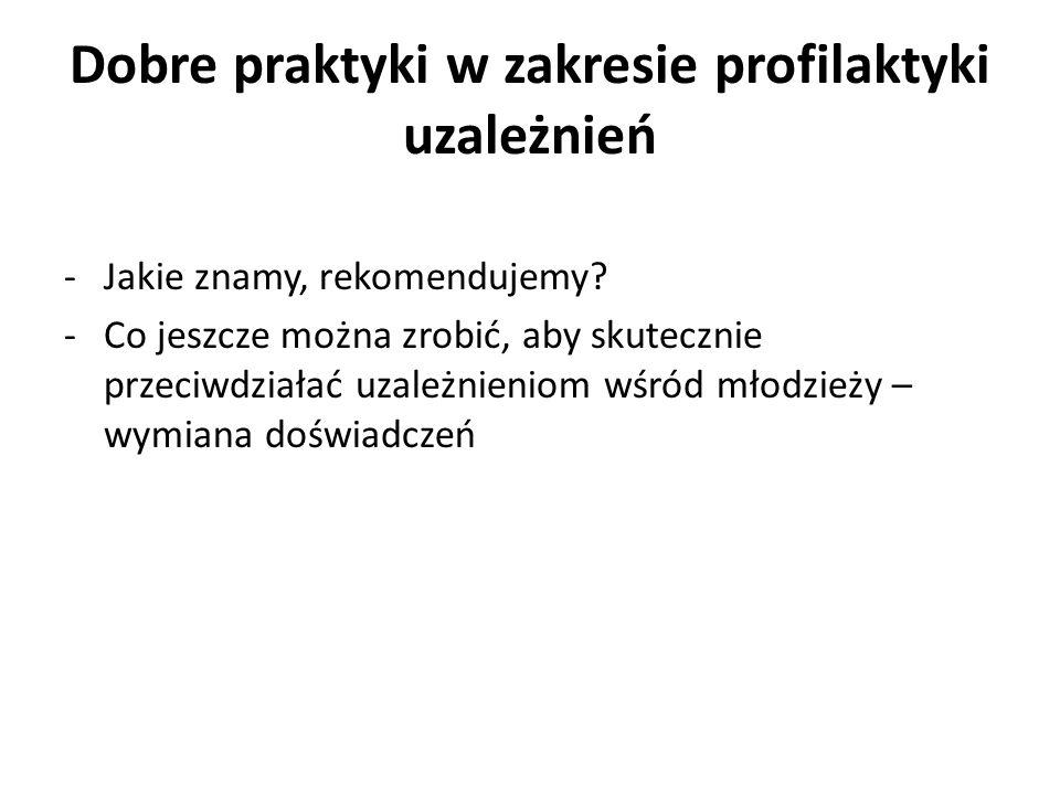 Dobre praktyki w zakresie profilaktyki uzależnień