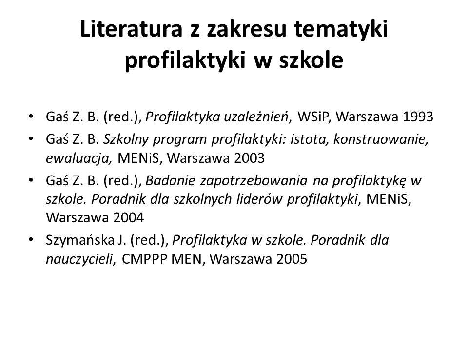 Literatura z zakresu tematyki profilaktyki w szkole
