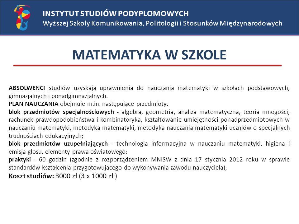 MATEMATYKA W SZKOLE INSTYTUT STUDIÓW PODYPLOMOWYCH