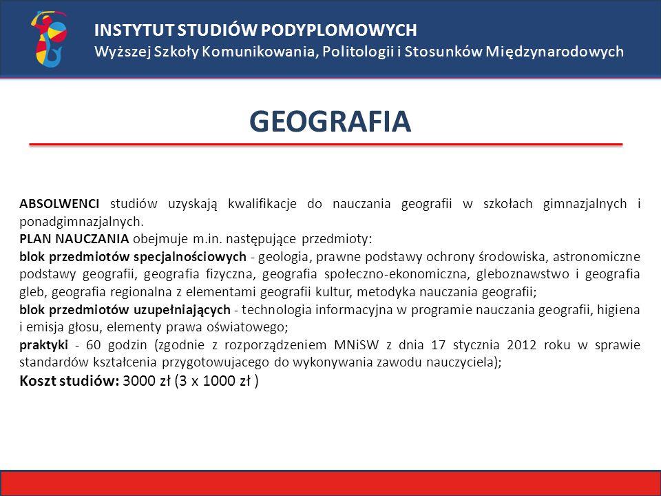 GEOGRAFIA INSTYTUT STUDIÓW PODYPLOMOWYCH