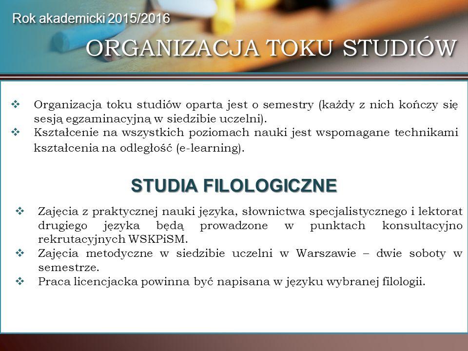 ORGANIZACJA TOKU STUDIÓW