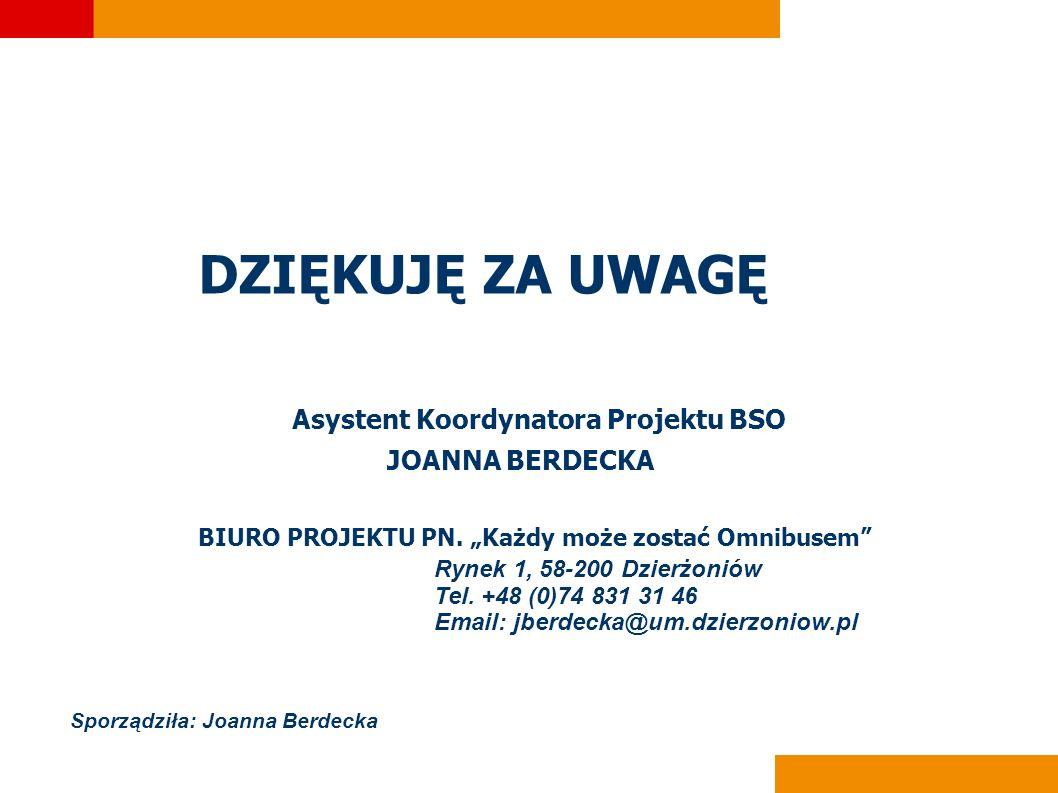 DZIĘKUJĘ ZA UWAGĘ Asystent Koordynatora Projektu BSO JOANNA BERDECKA
