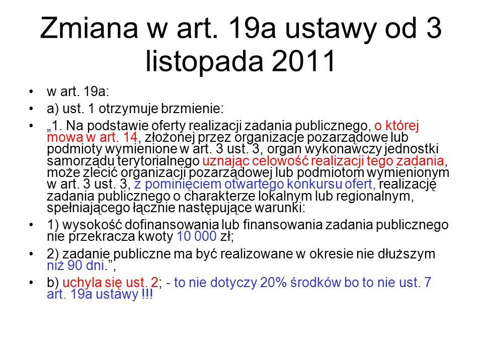 Zmiana w art. 19a ustawy od 3 listopada 2011