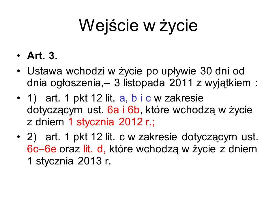 Wejście w życie Art. 3. Ustawa wchodzi w życie po upływie 30 dni od dnia ogłoszenia,– 3 listopada 2011 z wyjątkiem :