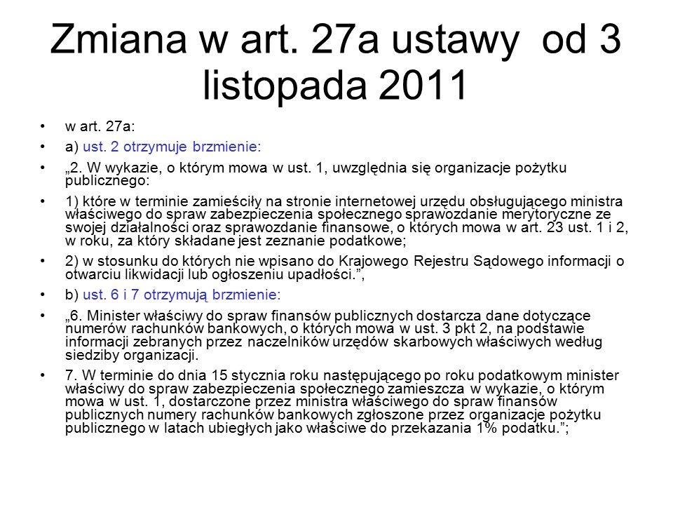 Zmiana w art. 27a ustawy od 3 listopada 2011