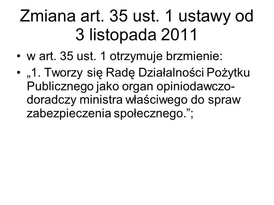 Zmiana art. 35 ust. 1 ustawy od 3 listopada 2011