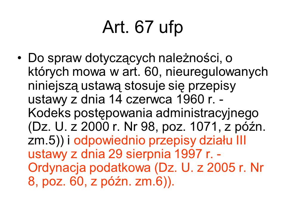 Art. 67 ufp