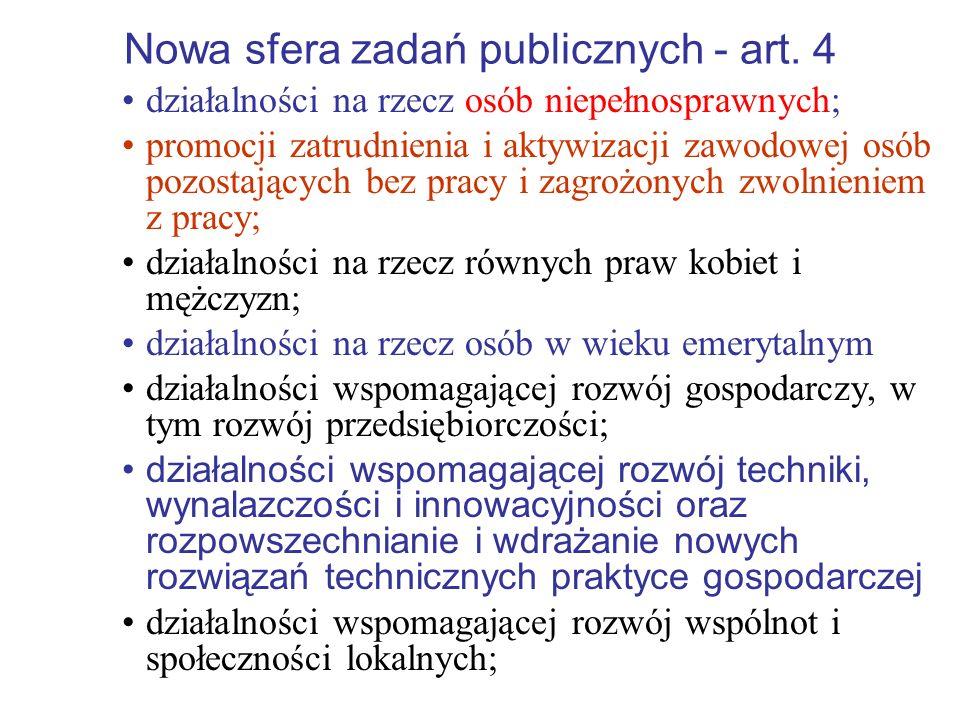 Nowa sfera zadań publicznych - art. 4
