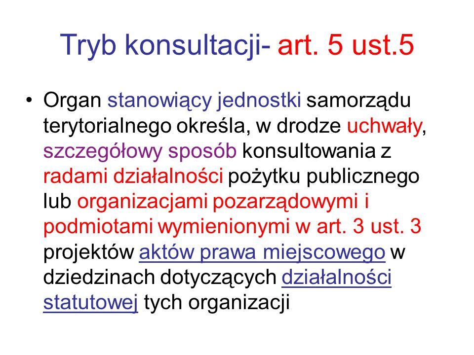 Tryb konsultacji- art. 5 ust.5