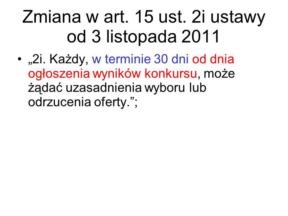 Zmiana w art. 15 ust. 2i ustawy od 3 listopada 2011