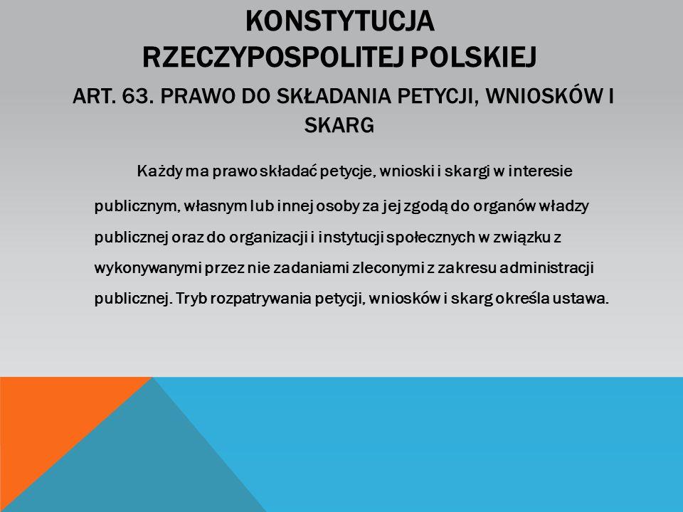 Konstytucja Rzeczypospolitej Polskiej Art. 63