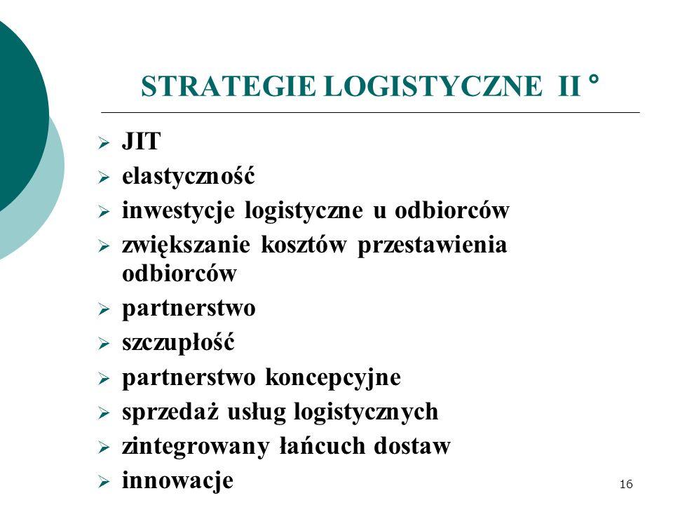 STRATEGIE LOGISTYCZNE II °