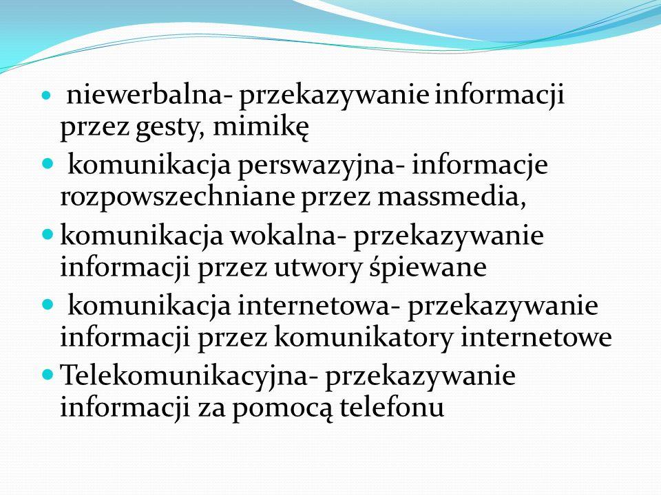 komunikacja perswazyjna- informacje rozpowszechniane przez massmedia,