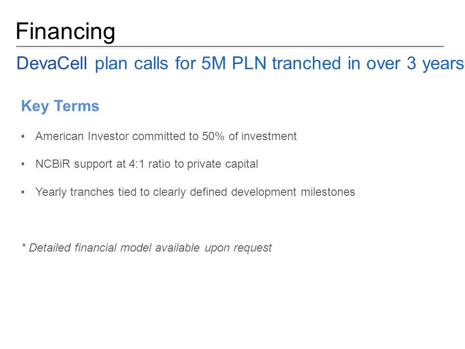 Financing DevaCell plan calls for 5M PLN tranched in over 3 years