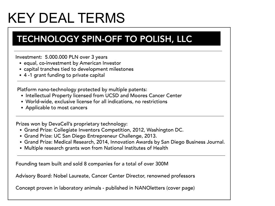 KEY DEAL TERMS