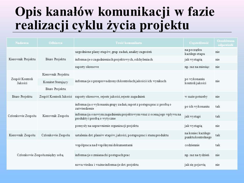 Opis kanałów komunikacji w fazie realizacji cyklu życia projektu