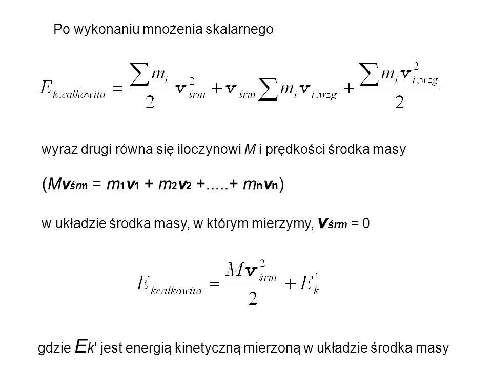 (Mvśrm = m1v1 + m2v2 +.....+ mnvn) Po wykonaniu mnożenia skalarnego