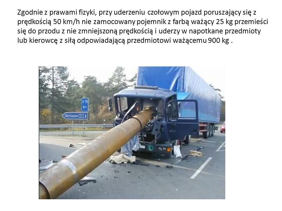 Zgodnie z prawami fizyki, przy uderzeniu czołowym pojazd poruszający się z prędkością 50 km/h nie zamocowany pojemnik z farbą ważący 25 kg przemieści się do przodu z nie zmniejszoną prędkością i uderzy w napotkane przedmioty lub kierowcę z siłą odpowiadającą przedmiotowi ważącemu 900 kg .