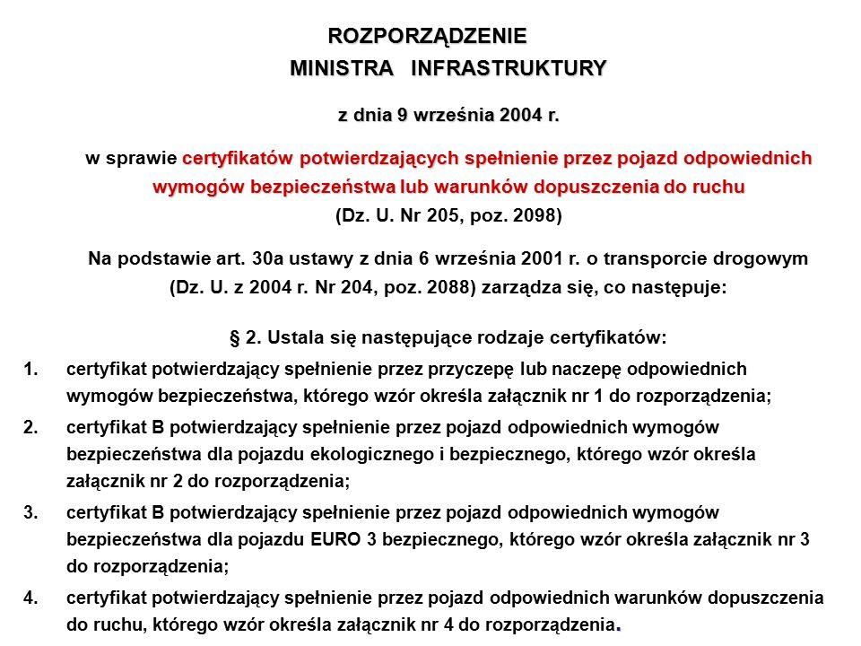 ROZPORZĄDZENIE MINISTRA INFRASTRUKTURY z dnia 9 września 2004 r
