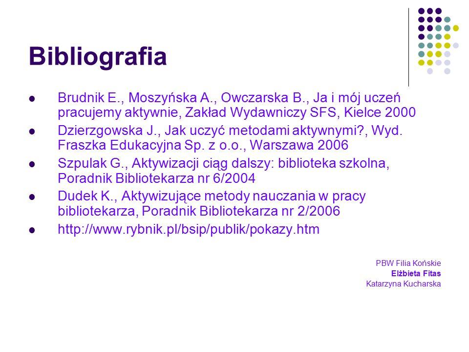 Bibliografia Brudnik E., Moszyńska A., Owczarska B., Ja i mój uczeń pracujemy aktywnie, Zakład Wydawniczy SFS, Kielce 2000.