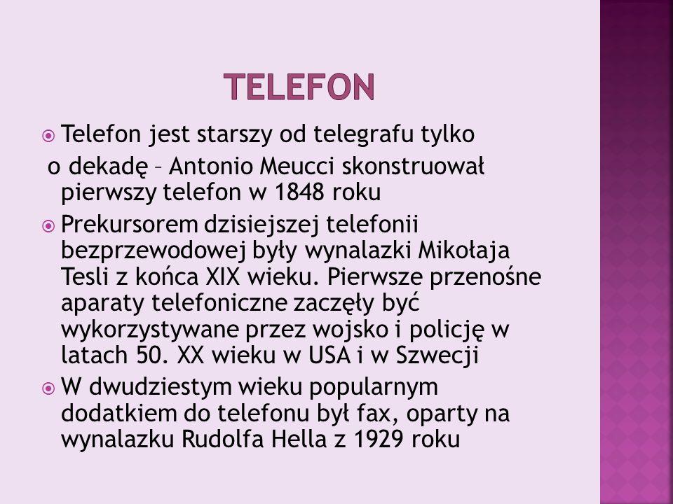 telefon Telefon jest starszy od telegrafu tylko