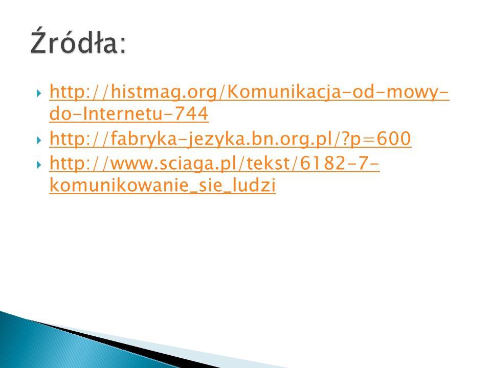 Źródła: http://histmag.org/Komunikacja-od-mowy- do-Internetu-744
