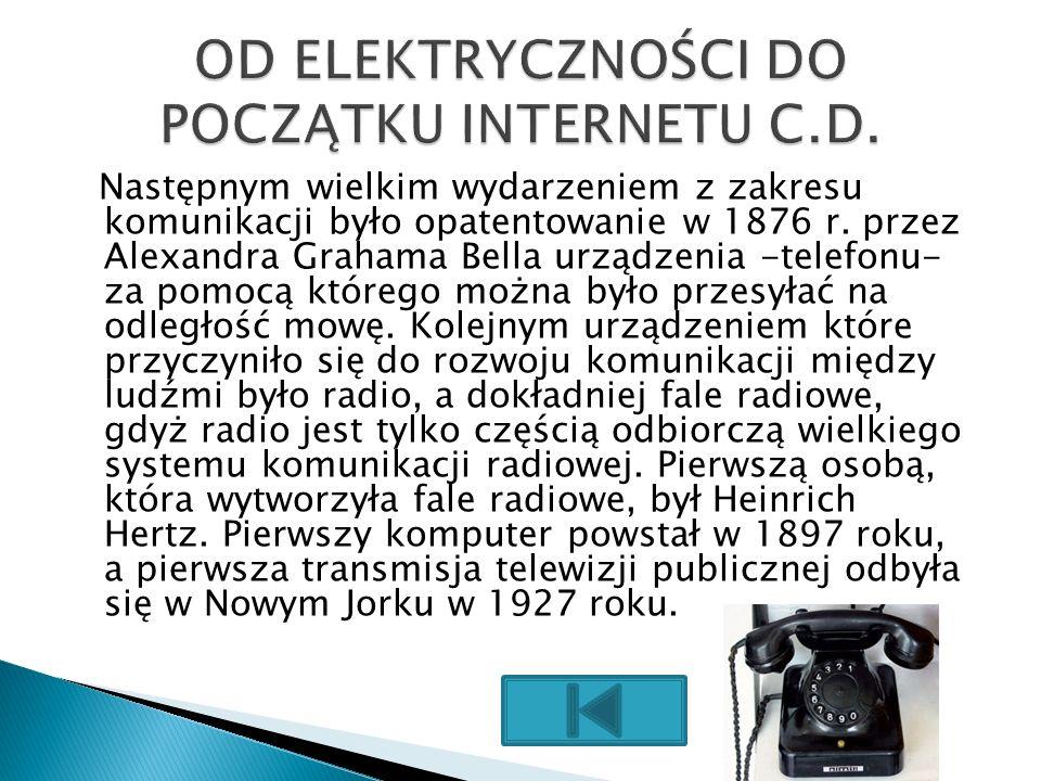 OD ELEKTRYCZNOŚCI DO POCZĄTKU INTERNETU C.D.