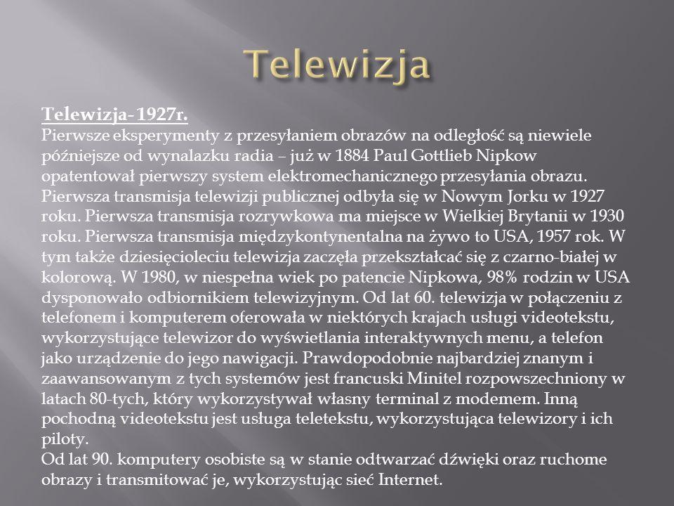 Telewizja Telewizja- 1927r.