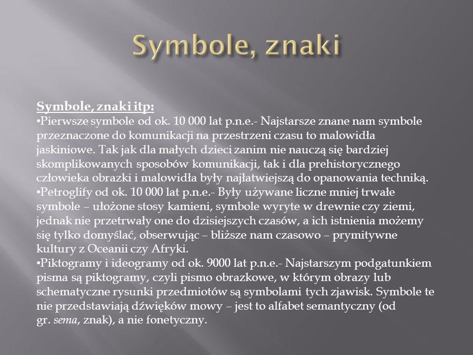 Symbole, znaki Symbole, znaki itp: