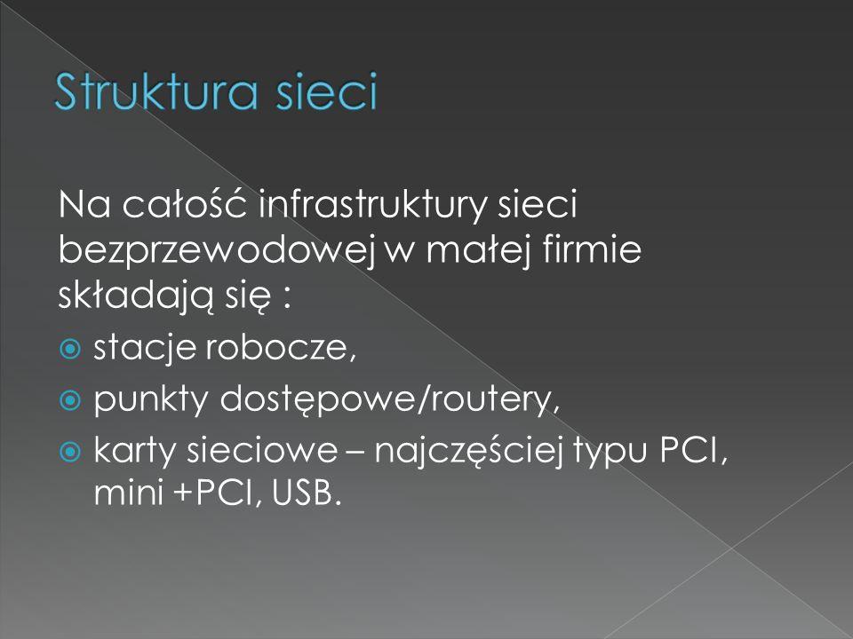 Struktura sieci Na całość infrastruktury sieci bezprzewodowej w małej firmie składają się : stacje robocze,