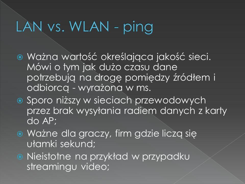 LAN vs. WLAN - ping