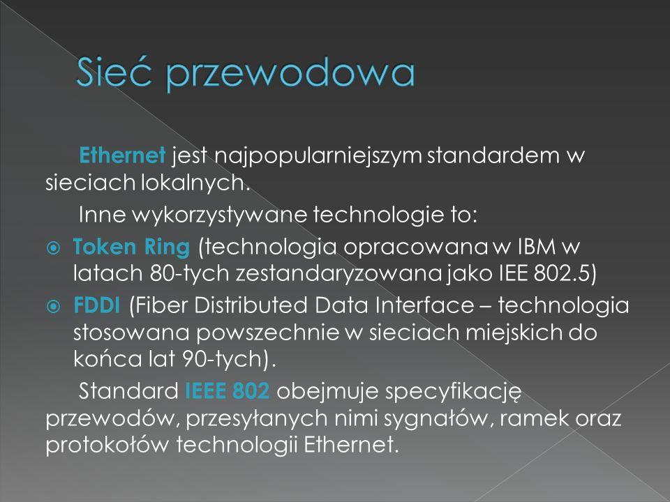 Sieć przewodowa Ethernet jest najpopularniejszym standardem w sieciach lokalnych. Inne wykorzystywane technologie to: