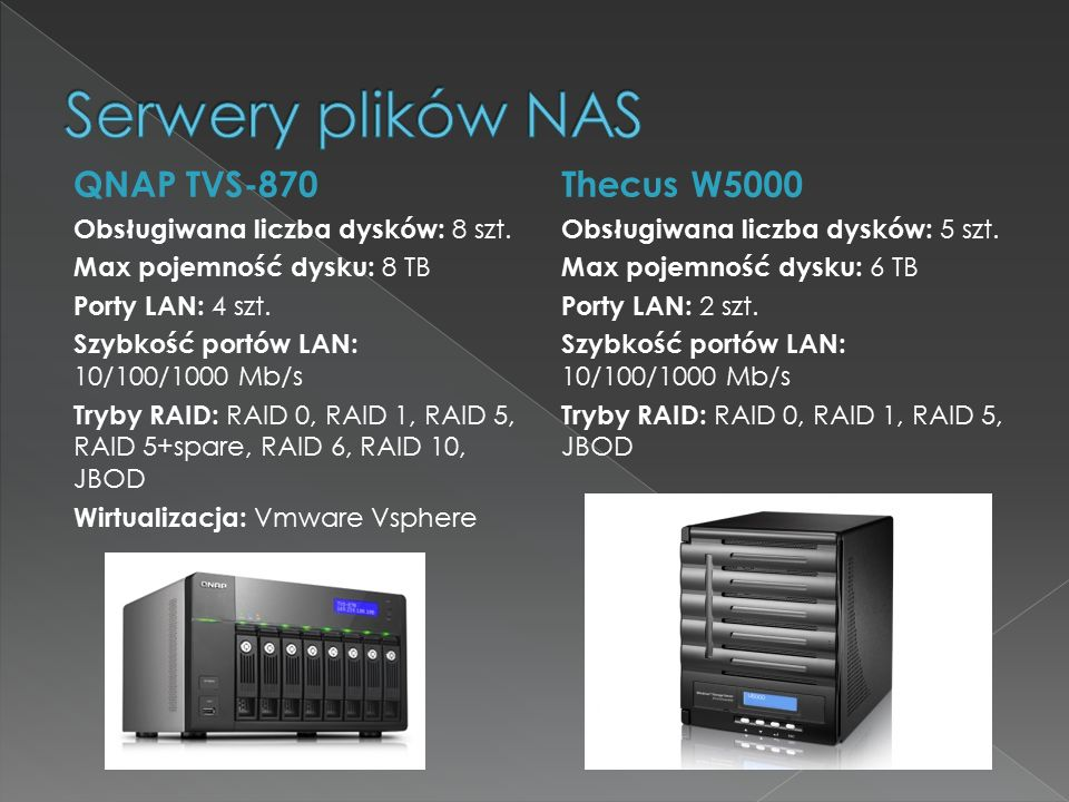 Serwery plików NAS QNAP TVS-870 Thecus W5000