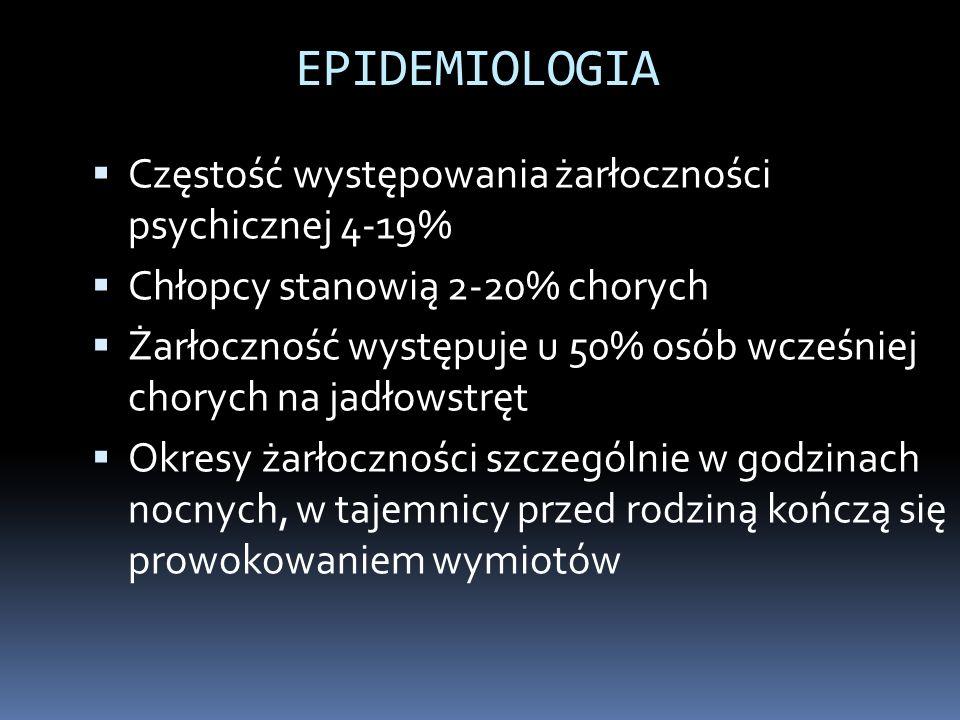 EPIDEMIOLOGIA Częstość występowania żarłoczności psychicznej 4-19%