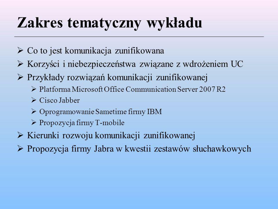 Zakres tematyczny wykładu