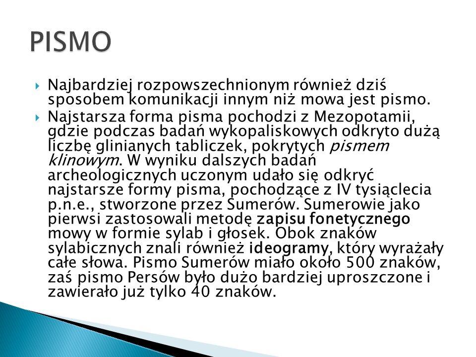 PISMO Najbardziej rozpowszechnionym również dziś sposobem komunikacji innym niż mowa jest pismo.