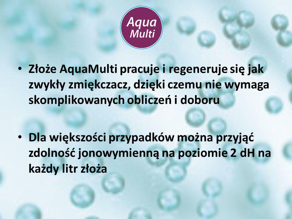 Złoże AquaMulti pracuje i regeneruje się jak zwykły zmiękczacz, dzięki czemu nie wymaga skomplikowanych obliczeń i doboru