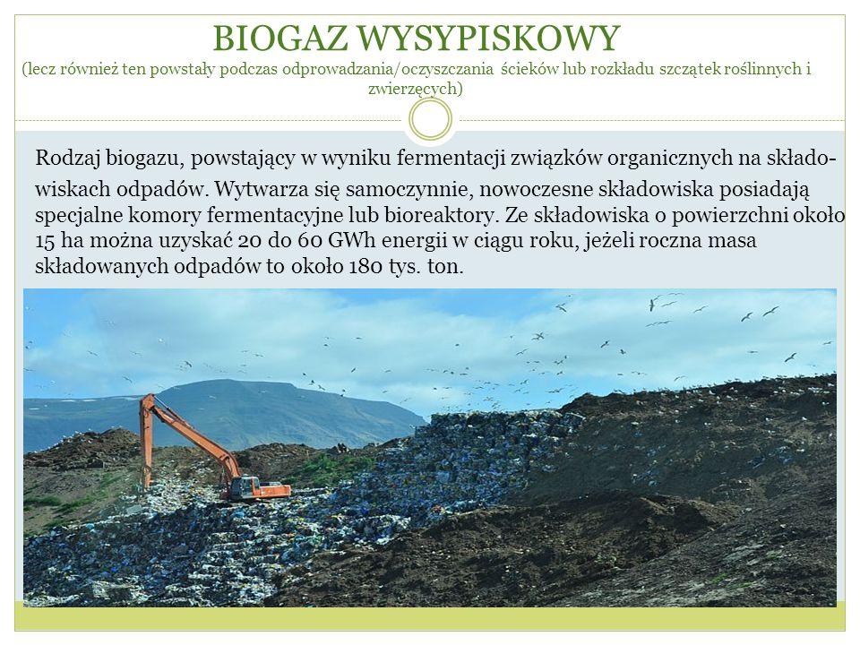 BIOGAZ WYSYPISKOWY (lecz również ten powstały podczas odprowadzania/oczyszczania ścieków lub rozkładu szczątek roślinnych i zwierzęcych)