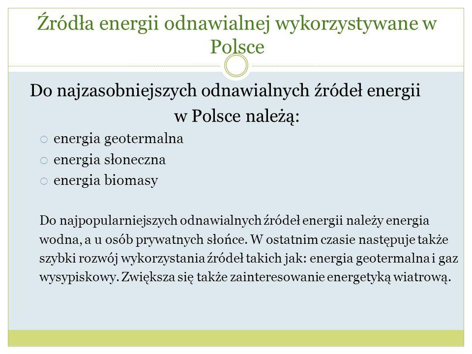 Źródła energii odnawialnej wykorzystywane w Polsce