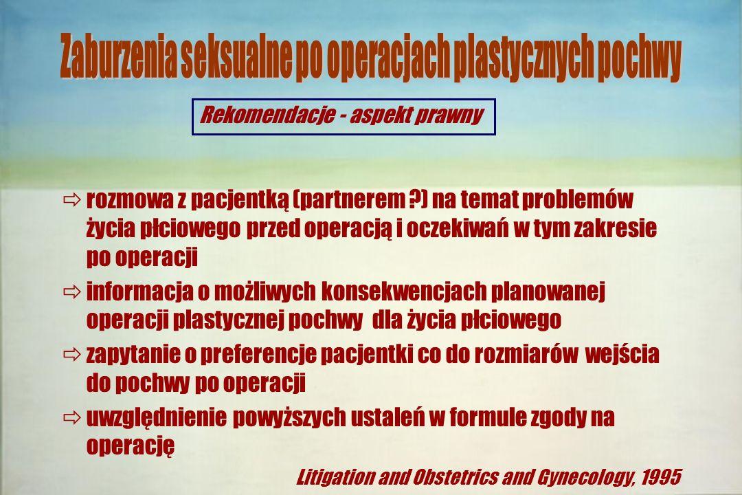 Zaburzenia seksualne po operacjach plastycznych pochwy