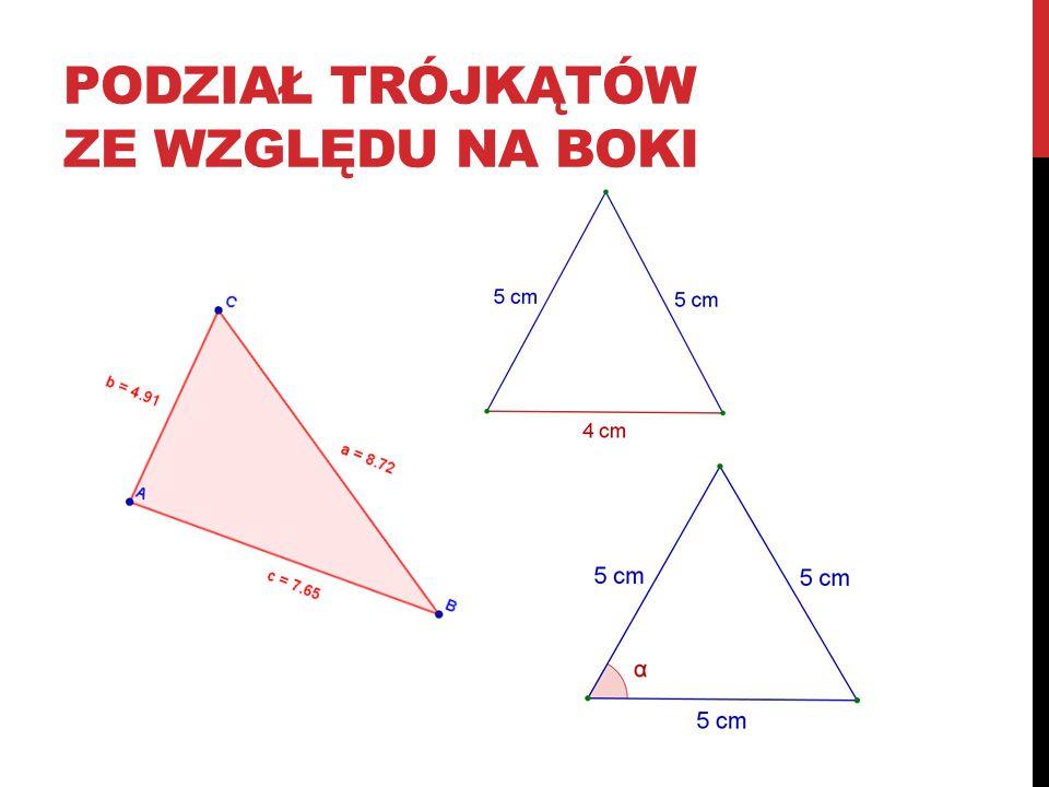 podział trójkątów ze względu na boki