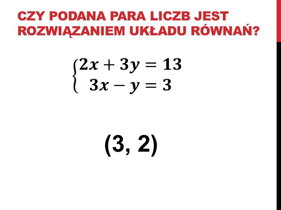 czy podana para liczb jest rozwiązaniem układu równań