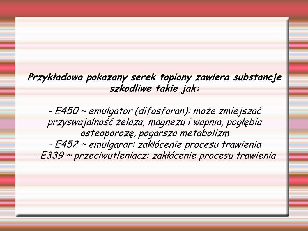 - E452 ~ emulgaror: zakłócenie procesu trawienia